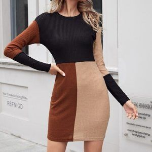 black rust color block ribbed fitted dress sweater